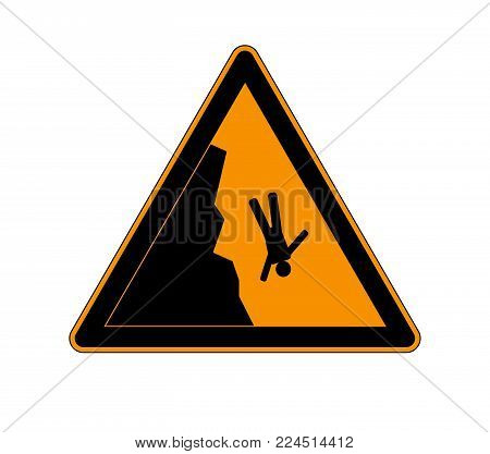 Danger cliff edge warning sign. Warning sign in the mountains for skiers and snowboarders during heavy snowfall. Vector illustration caution danger of falling isolated on a white background.