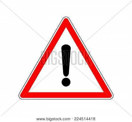 Yield Triangle Sign - Road traffic coordination symbol. Road sign warning attention with an exclamation mark. Vector illustration
