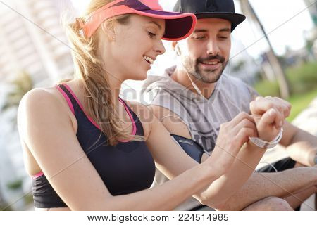 Couple of joggers exercising together