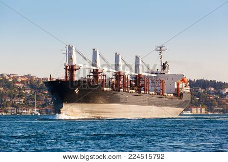 Large cargo ship proceeding along the Bosphorus Channel on the background of the coast on the background.