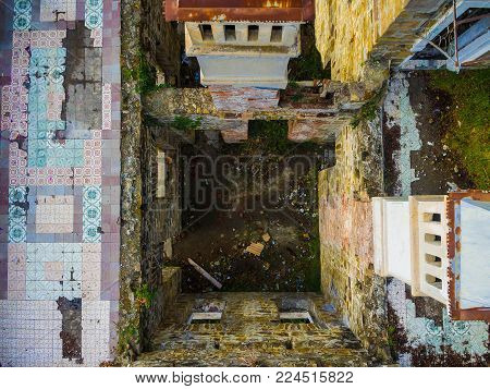 Sochi, Russia - January 2, 2018: Drone view of the interior of the abandoned old mansion called Dacha Kvitko
