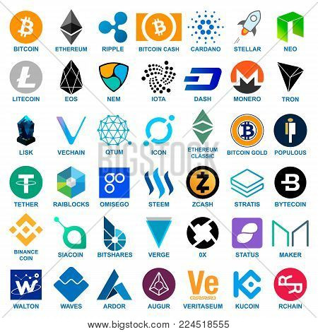 Big cryptocurrency logo set. 42 different coins icons