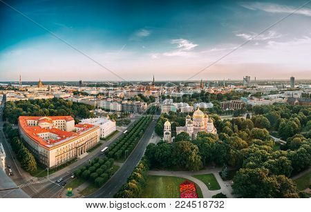 Riga, Latvia - July 2, 2016:  Riga Cityscape. Top View Of Buildings Ministry Of Justice, Supreme Court, Cabinet Of Ministers In Summer Evening. Aerial View