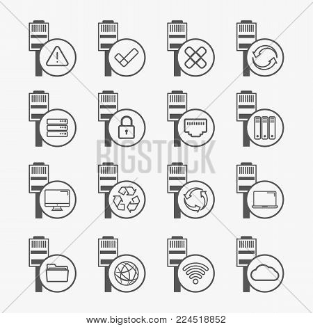Ethernet connection icons. Connection state and access indicators icons.