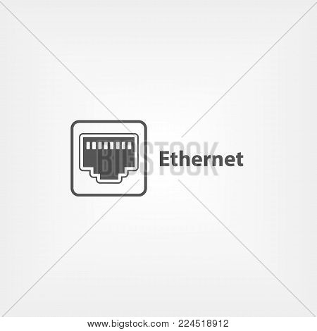 Ethernet simple icon. Rj45 connection outlet in flat style