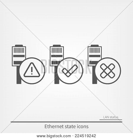 Ethernet connection icons. Connection state and outline indicators icons.