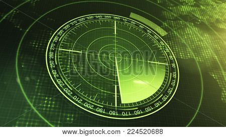 Sonar Screen For Submarines And Ships. Radar Sonar With Object On Map. Futuristic HUD Navigation monitor