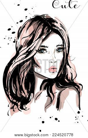 Hand drawn beautiful young woman with long hair. Stylish cute girl. Fashion woman portrait. Sketch.