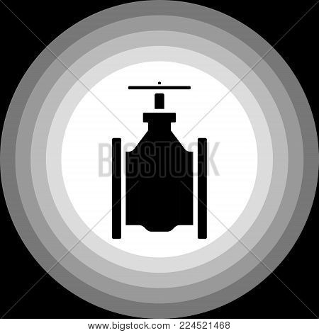 Vector image of a water stop valve in a minimalistic performance, black and white tone on a black background