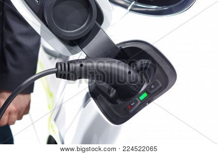 Power Supply For Electric Car Charging. Electric Car Charging Station. Close Up Of The Power Supply