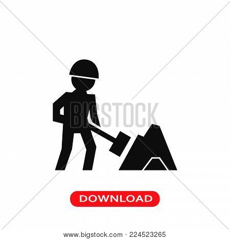 Worker of construction working with a shovel beside material pile icon vector in modern flat style for web, graphic and mobile design. Worker of construction working with a shovel beside material pile icon vector isolated on white background. Worker of co