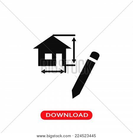 Drawing architecture project of a house icon vector in modern flat style for web, graphic and mobile design. Drawing architecture project of a house icon vector isolated on white background. Drawing architecture project of a house icon vector illustration