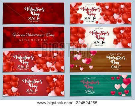 Valentines Day Sale, Discont Card Collection Set. Vector Illustration . EPS10