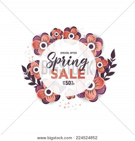 Paper art of  Spring  origami  circle sale banner concept. 50 percent discount