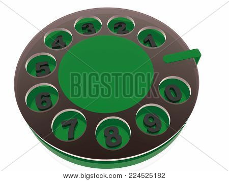 Disk of retro phone dial on white background, 3D illustration.