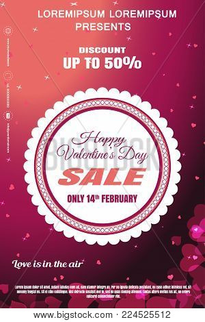 Vector Valentine's Day sale poster with round label, gradient pink background, hearts and stars pattern.