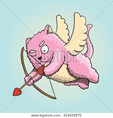Valentines Day, Valentines Cupid Pink Cat, Flying on the Wings of Love, Aiming at Lover's Heart with Cupid Arrow