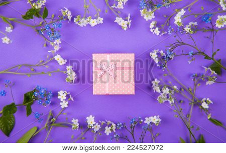 Pink Gift Box Surrounded With Blue And White Little Flowers On Violet Background.