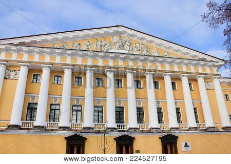 Admiralty Building Facade in St. Petersburg, Russia. Historical Pillars and Ornaments Exterior Details, Built in 1704. Famous Saint-Petersburg City Downtown Architecture, Popular Landmark Front View.