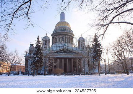 Saint Isaac's Cathedral  in Saint-Petersburg, Russia. Russian Orthodox Cathedral and Museum, Biggest Orthodox Basilica in the World. Winter Season Scene with Snow and Clear Sky on Winter Morning.