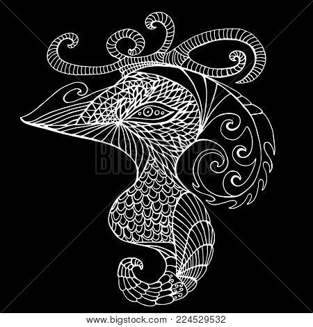 Black and white mystical bird, vintage psychedelic style, isolated pattern. Fantasy surreal bird Gamayun. Hand drawn vector sign. Ethnic bohemian background.