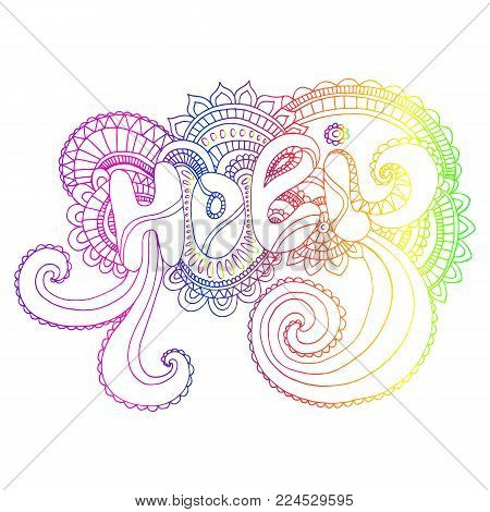 Rainbow color word Holi mandala, to the Indian holiday. Ethnic bohemian background. Vintage decorative doodle element.Indian motifs.Vector hand drawn letters Holi.Festive card for the holiday of color.