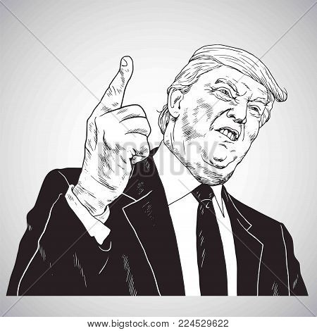President Donald Trump, You're Fired! Vector Illustration Drawing Vector. January 31, 2018