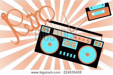 Old, vintage, retro, hipster, antique, cassette audio tape recorder and audio cassette from the 80's, 90's with an inscription of retro against a light brown rays. Vector illustration.