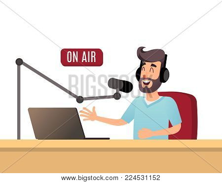 The radio presenter is talking on the air. A young radio DJ in headphones is working on a radio station. Broadcasts flat design illustration