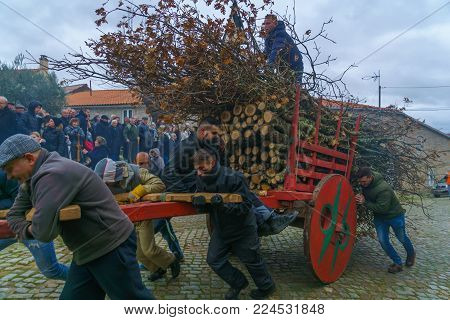 DUAS IGREJAS, PORTUGAL - DECEMBER 26, 2017: Villagers carry woods up hill, as part of the celebration of Santo Estevao, as part of Christmas event, in Duas Igrejas, Portugal