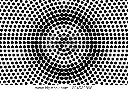 Black White Rough Centered Dotted Gradient. Half Tone Vector Background. Greyscale Dotted Halftone.