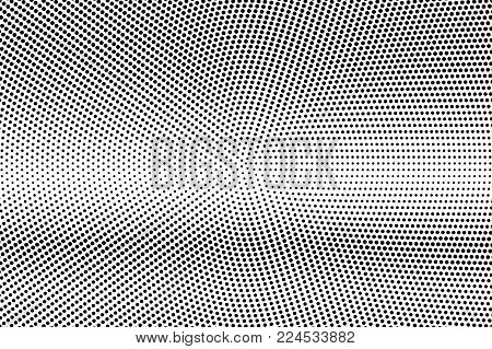 Black White Regular Dotted Gradient. Half Tone Vector Background. Greyscale Dotted Halftone. Abstrac