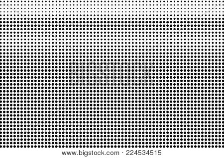 Black white regular dotted gradient. Half tone vector background. Greyscale dotted halftone. Abstract monochrome texture. Black ink micro dot on transparent backdrop. Pop art dotwork. Retro design