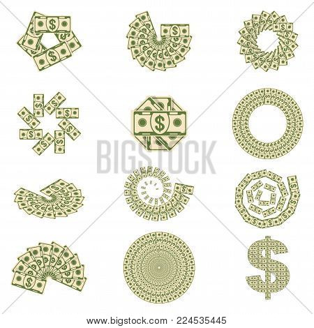 paper dollar money spread out in a fan. Set a various kind of money. Flat vector cartoon money illustration. Objects isolated on a white background.