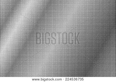 Black and white dotted gradient. Contrast half tone vector background. Regular dotted halftone. Monochrome retro texture. Black ink dot on transparent backdrop. Pop art dotwork. Abstract backdrop