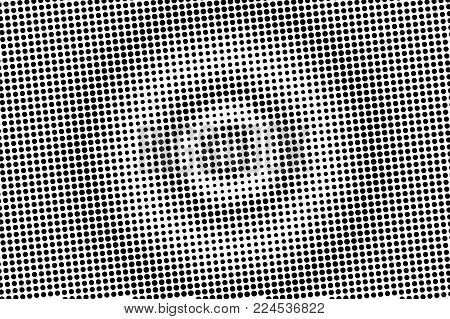Black white contrast dotted gradient. Half tone vector background. Centered dotted halftone. Abstract monochrome texture. Black ink dot on transparent backdrop. Pop art dotwork. Retro design
