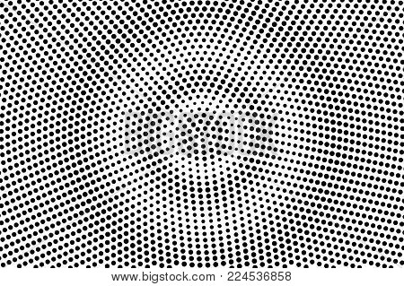 Black white subtle circle dotted gradient. Half tone vector background. Greyscale dotted halftone. Abstract monochrome texture. Black ink dot on transparent backdrop. Pop art dotwork. Retro design
