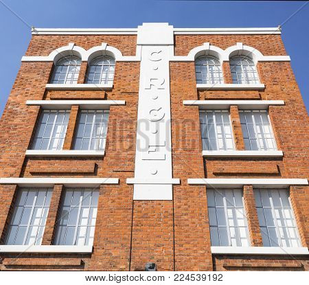 LISBON - October 7, 2017: The Electricity Museum is a beautiful example of Portuguese industrial architecture of iron covered with brick in artistic stlyles from Art Nouveau to classicism, in Lisbon, Portugal