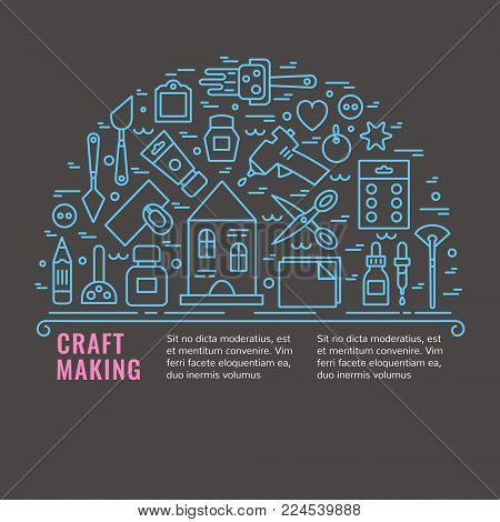 Craft supplies poster. Template for flyer and banner.  Poster for craft show and sale,  studio,   shop, courses and workshops.  Vector line style illustration.