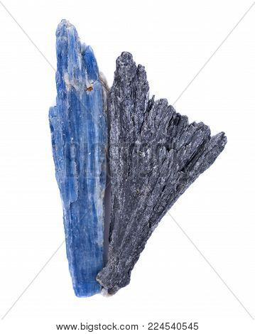 Well Defined Black Kyanite Fan And Semi-translucent Gem Quality  Blue Kyanite Blade From Brazil, Iso