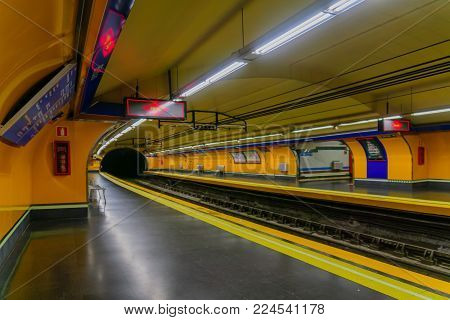 MADRID, SPAIN - JANUARY 1, 2018: The Bilbao metro station, in Madrid, Spain