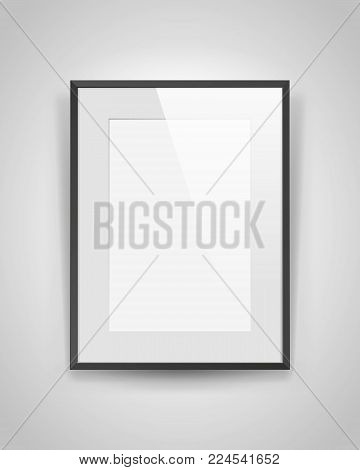 Realistic empty rectangular black frame with light on gray background, border for your creative project, mock-up sample, vector design object