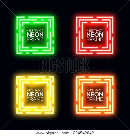 Neon light square set. Shining rectangle techno frame collection. Night club electric 3d banner on dark backdrop. Green red yellow orange abstract background with glow. Technology vector illustration.