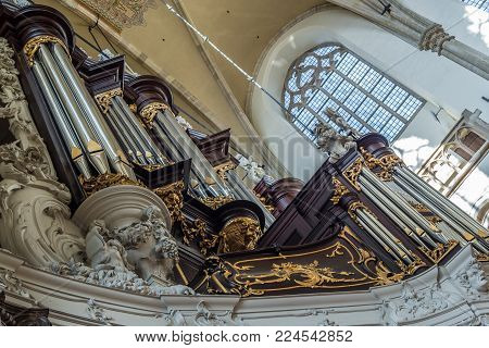 DORDRECHT, NETHERLANDS - OCTOBER 27, 2017: The main organ of the Grote Kerk was build in 1859 by W.H. Kam. It is one of the most famous organs of the Netherlands