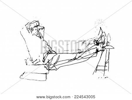 A Line Art Drawing Of A Man Figure At A Very Relaxing Position.