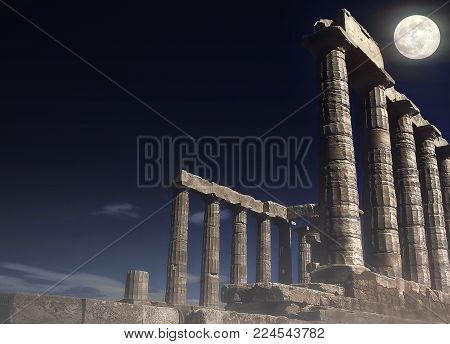 Remains of  Poseidon's Temple, god of the seas and oceans according to ancient Greeks, at Cape Sounion in Attica - Greece