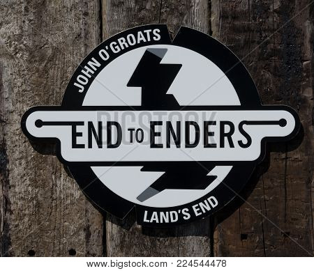 Land's End to John O'Groats sign on road