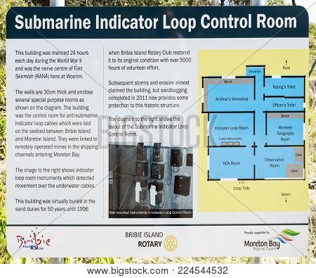 BRIBIE ISLAND, AUSTRALIA - January 29, 2018: Sign describing the WW II Submarine Indicator Loop Control Room RAN 4 Station at the beach in Woorim, Bribie Island, Australia