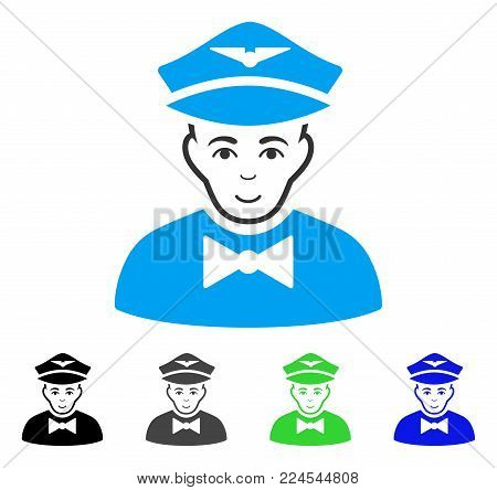 Smiling Airline Steward vector icon. Vector illustration style is a flat iconic airline steward symbol with gray, black, blue, green color versions. Human face has happy emotion.