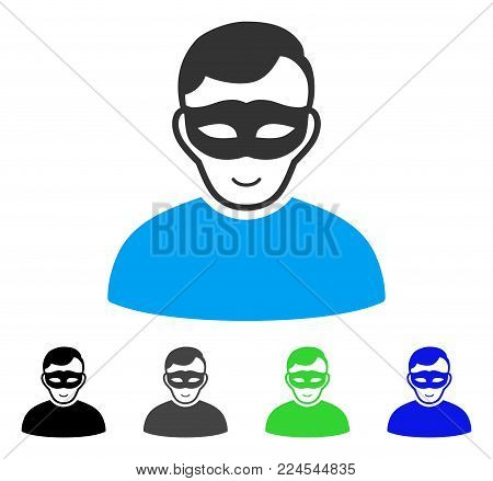 Happy Anonymous Person vector pictograph. Vector illustration style is a flat iconic anonymous person symbol with grey, black, blue, green color versions. Human face has smiling emotion.